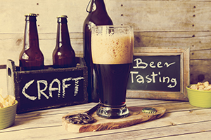 Glass of craft beer for tasting