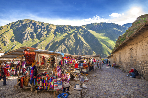 Market in Ollantaytambo, in the Sacred Valley, Peru