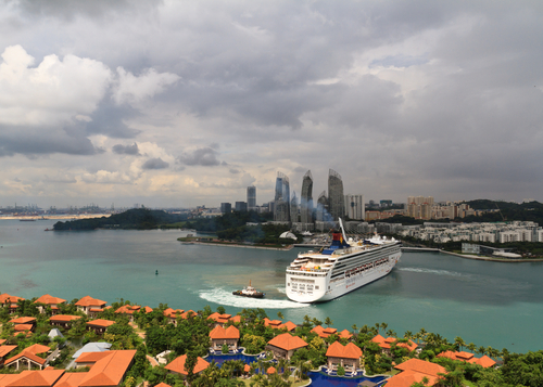 Cruise ship in Singapore harbor