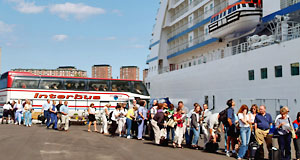 cruise passengers boarding cruise ship