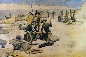 Old photograph with explorers and native Americans