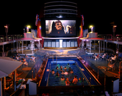 movie screen pool deck