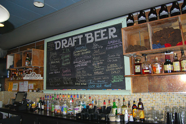 list of beers on tap at beerfoot brewery in galveston