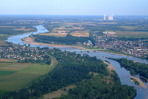 Aerial view of the Loire River