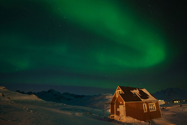 norther lights over Greenland