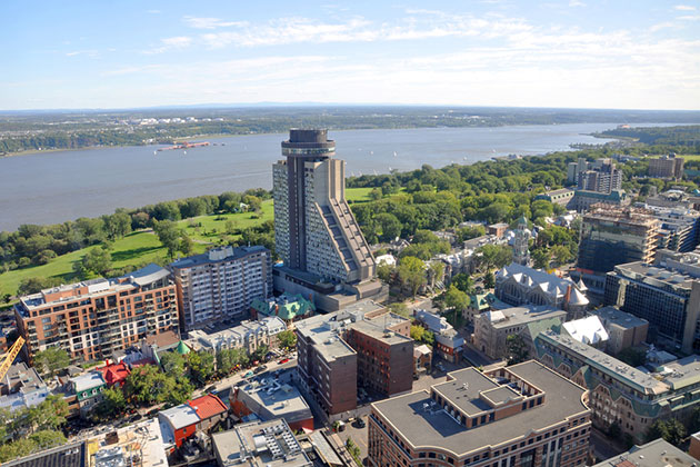 Aerial view of Quebec City and the St. Lawrence River
