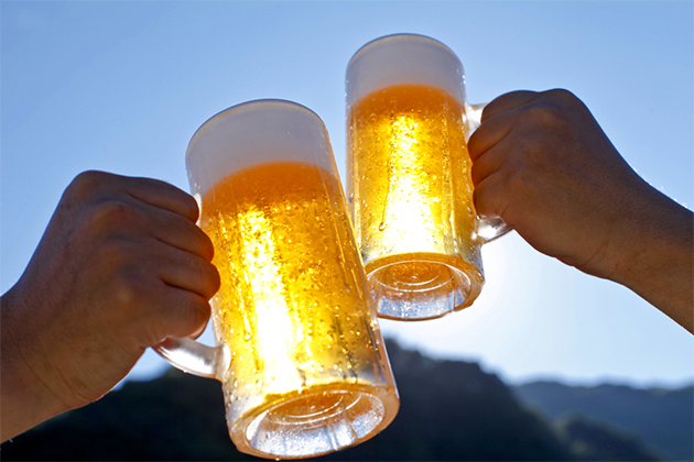 beer mugs toasting