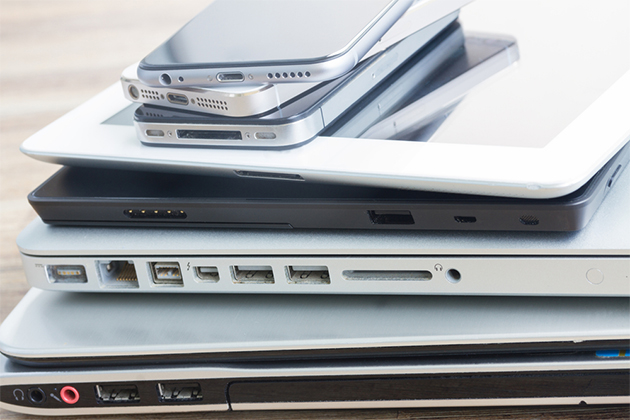 Pile of electronic devices