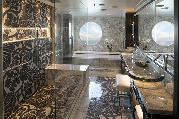 The Crystal Penthouse bathroom onboard Crystal Serenity.