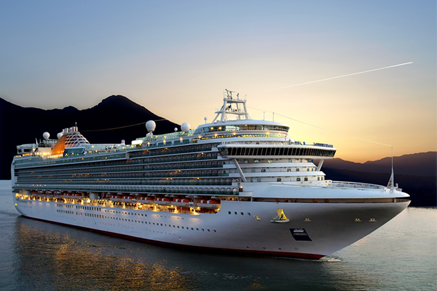 cruise ship at sunrise