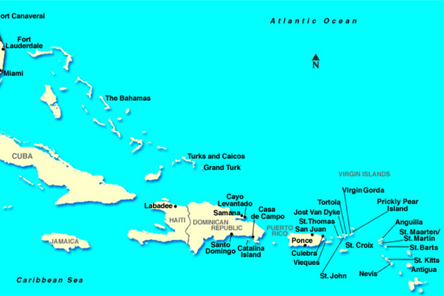 Islands and ports of the Eastern Caribbean.