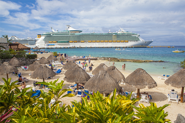 A Royal Caribbean cruise ship docked in Cozumel.