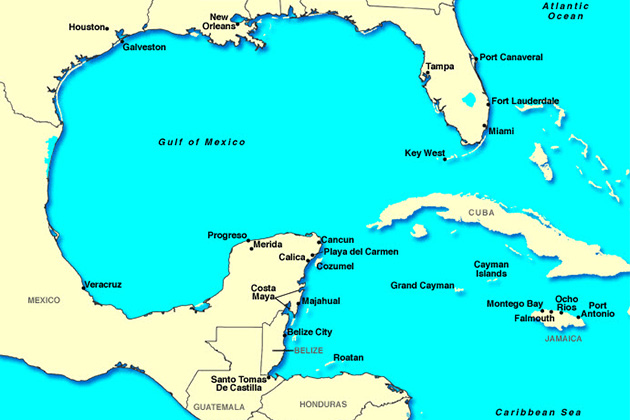 Islands and ports of the Western Caribbean.