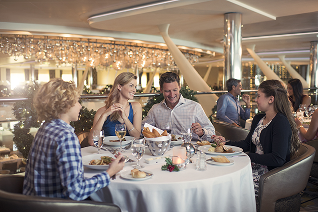 family dining on a cruise