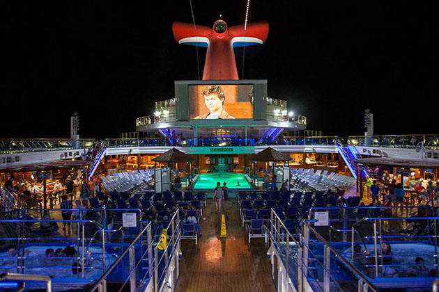 Outdoor movie screen on Carnival Sunshine.