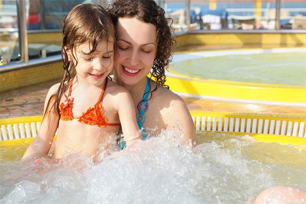Kid in hot tub