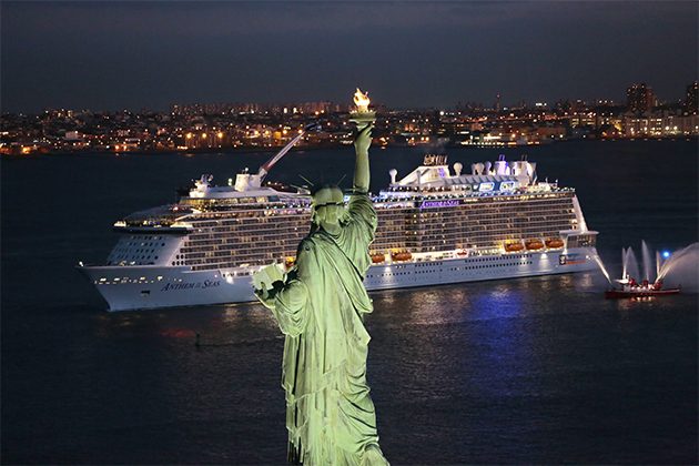 Anthem of the Seas sailing past the Statue of Liberty