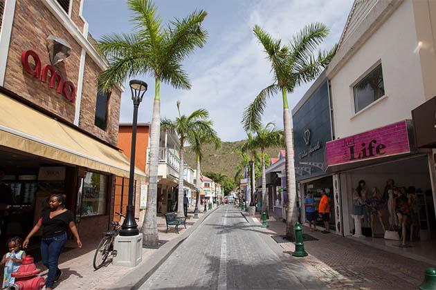 A popular shopping strip in St. Maarten.