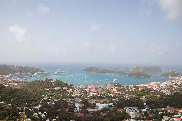 Aerial view of St. Thomas in the U.S. Virgin Islands.