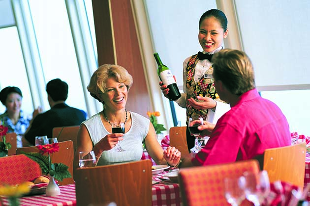 waiter service on a cruise ship