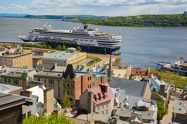 cruise ship docked in the port of Quebec City, Canada