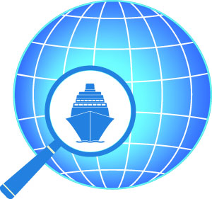 cruise ship world globe magnifying glass
