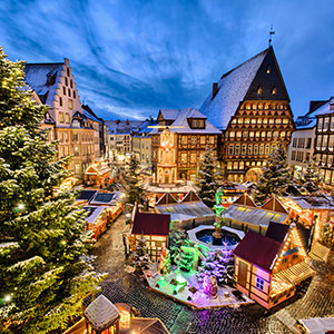 Christmas Market on the historic market place in Hildesheim, Germany - photo courtesy of Mapics/Shutterstock