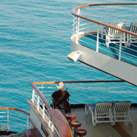 person in wheelchair on cruise ship