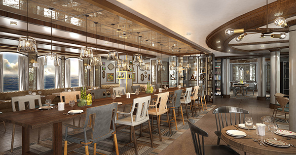 Rendering of restaurant on a cruise ship