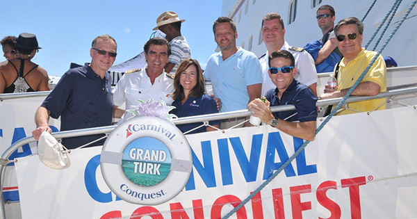 Christine Duffy visiting the Carnival Conquest while in port in Grand Turk