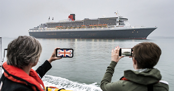Cunard's Queen Mary 2, sails into Southampton