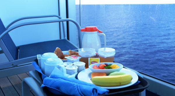 Room service on cabin balcony