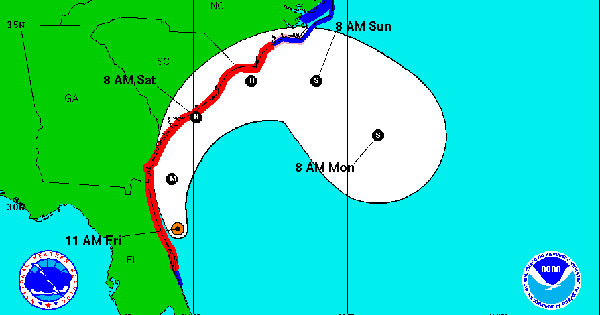 Hurricane Matthew storm path on Caribbean map