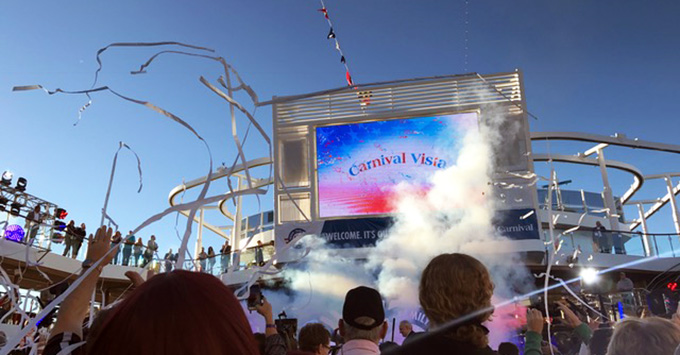 Carnival Vista being christened on the Lido Deck