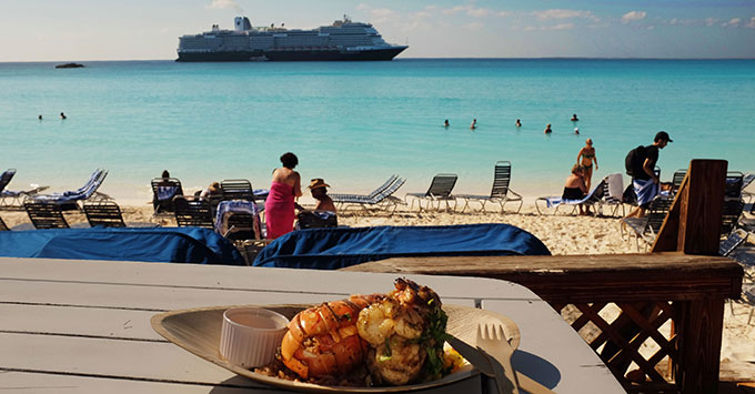 Lobster lunch plate with Koningsdam in the background