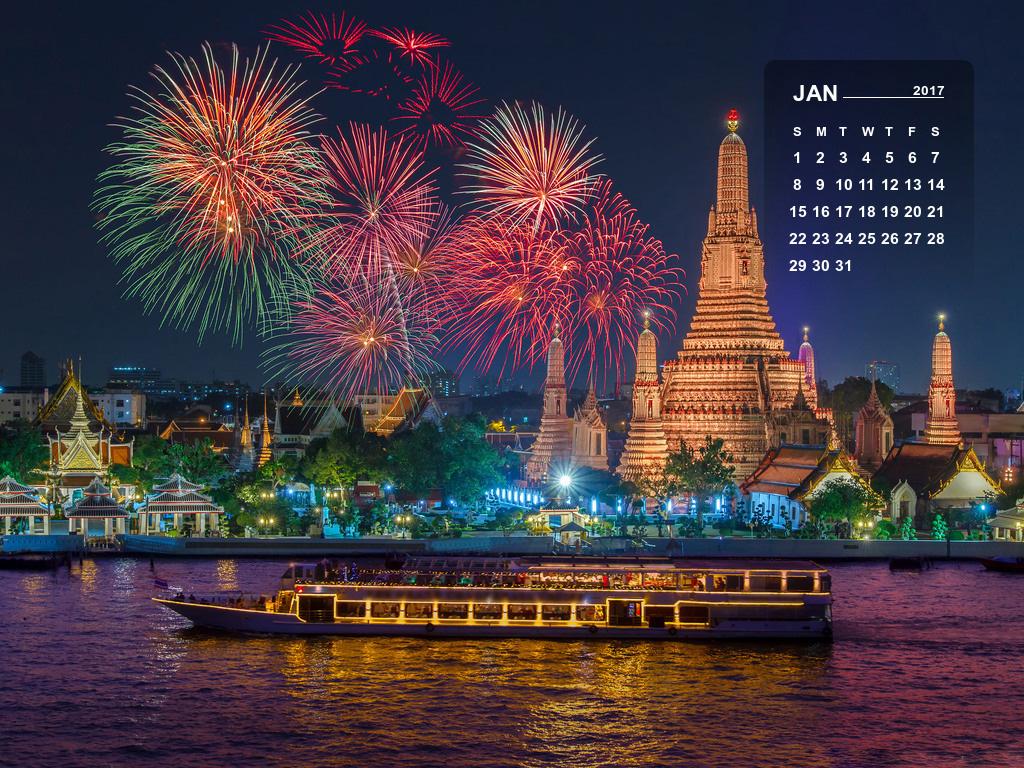 January 2017 Calendar Desktop Mobile Wallpaper
