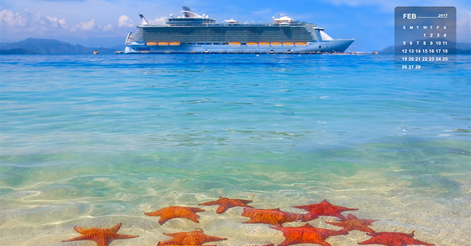 starfish on the beach and cruise ship in the caribbean
