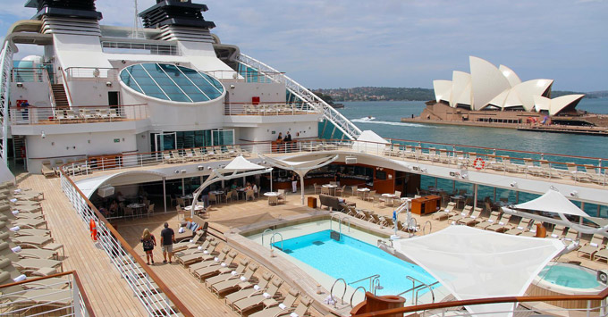 Seabourn Encore pool in Sydney Harbour