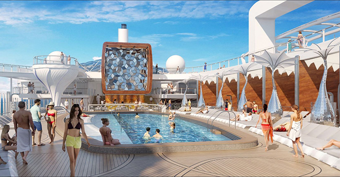 Rendering of the Resort Deck on Celebrity Edge
