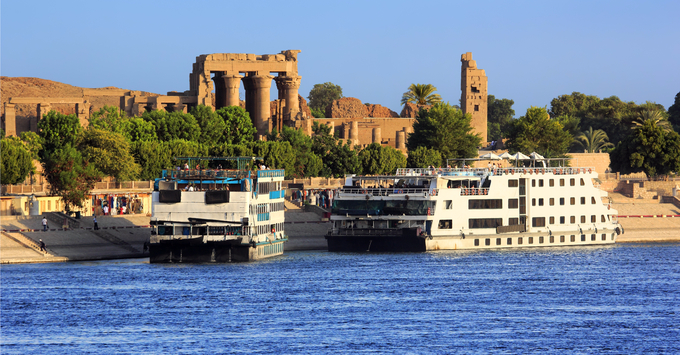 Cruise ships docked at Kom Ombo on the Nile.