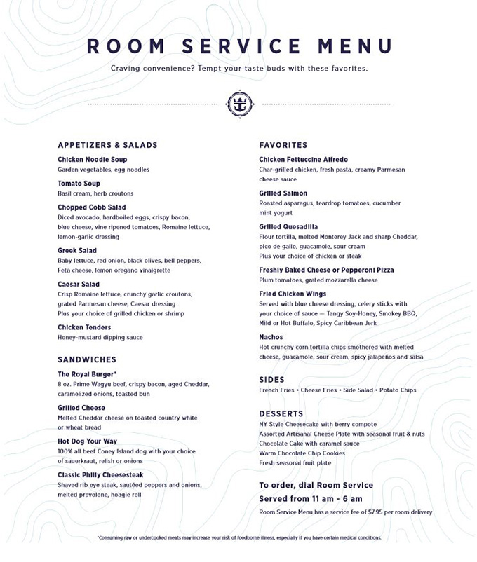 Holland America Room Service Menu