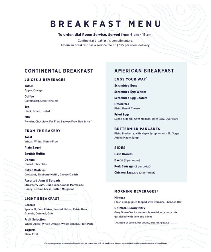 Holland America Room Service Breakfast Menu