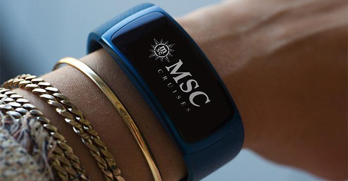 Wrist Modeling Navy Blue Band with MSC Cruises Logo
