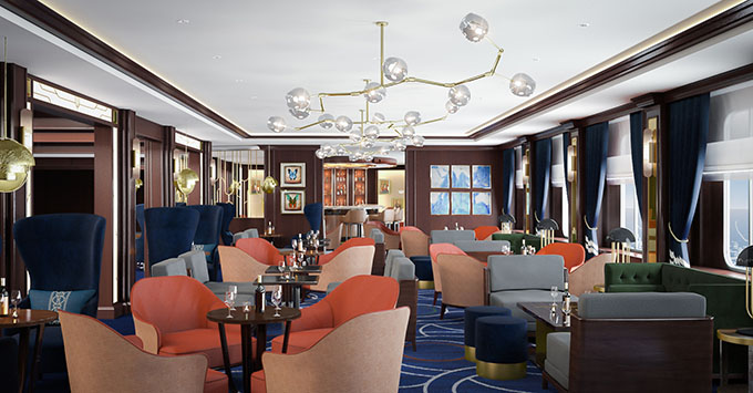 Artist rendering of the Chart Room on Cunard's Queen Victoria