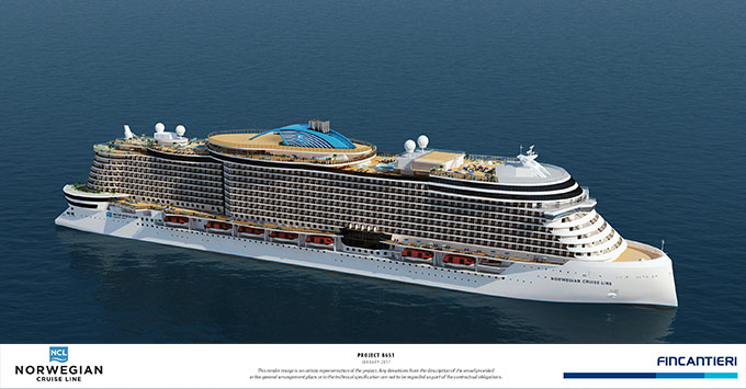 Artist rendering of Norwegian Cruise Line's latest class of ship