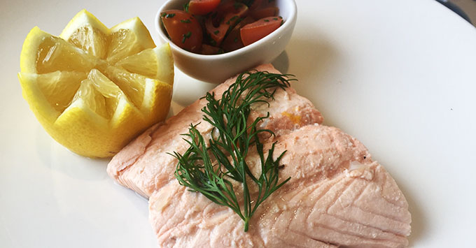 Tor's salmon served on Viking Hild