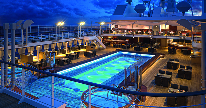 The Pool Deck at night on Silver Muse
