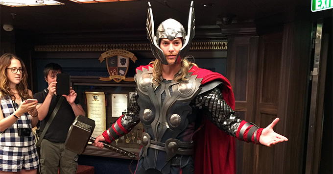 Thor character in full garb on a Disney Fantasy cruise