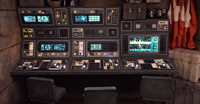 Computer props at the Star Wars Command Post space on Disney Fantasy