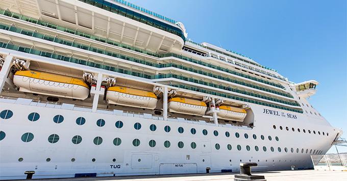Exterior shot of Jewel of the Seas docked in port